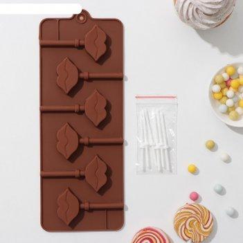 Форма для леденцов и мороженого, 6 ячеек 24х9,4х1,5 см поцелуй с палочками