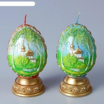 Декоративная свеча «пасхальное яйцо с берёзой»