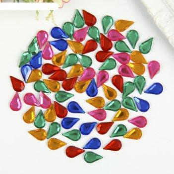 Стразы самоклеящиеся капля, 13х8 мм, 30 г, 5 цветов