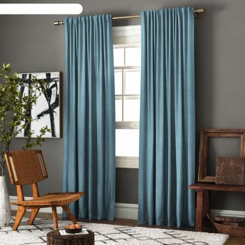 Комплект штор «ибица», размер 140 x 270 см-2 шт, подхват-2 шт, цвет голубо