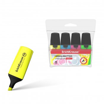 Набор маркеров текстовыделителей 4 цвета 0.6-5.2 мм erich krause mini, фут