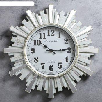 Часы настенные, серия: интерьер, лучики солнца с зеркалом, бежевые, d=58 с
