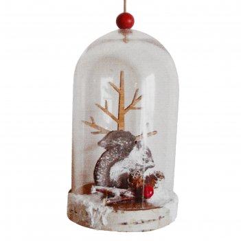 Набор для творчества - создай елочное украшение  белочка у дерева в колбе