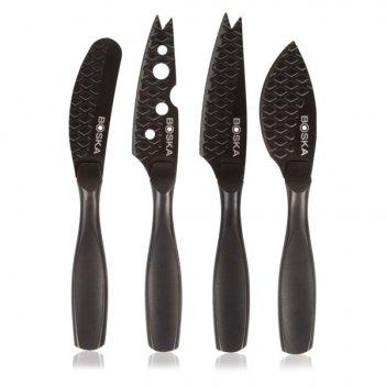 Набор мини-ножей для сыра boska монако+ 16см, 4шт (чёрный)