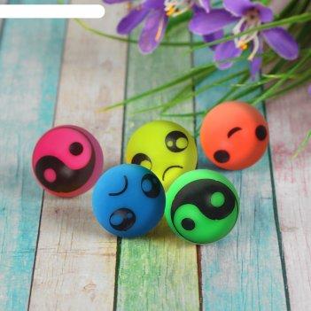 Мяч каучук рожицы 2,4 см, цвета микс