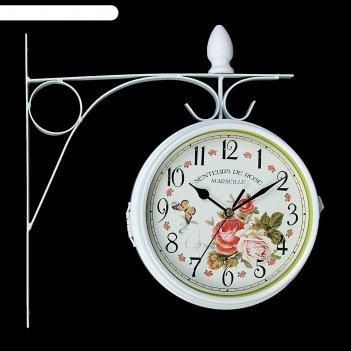 Часы настенные двойные, серия: садовые, розы, белые, d=17 см