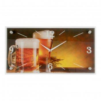 Часы-картина настенные, серия: кухня, бокалы пива, 52х26  см, микс