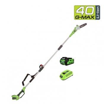 Высоторез – cучкорез аккумуляторный 20 см greenworks 40v g40ps20k2 с акб и