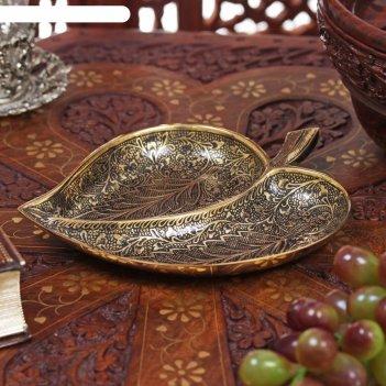 Икорница латунь листок 2,5х13х17 см