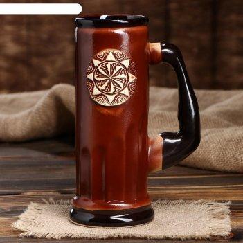 Пивной бокал славянский оберег коловрат, цвет коричневый, 0.75 л
