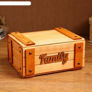 Сундук деревянный family, 28 х 20 х 14 см, микс
