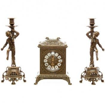 Часы каминные ларец и 2 подсвечника на 1 свечу, 3 предм.