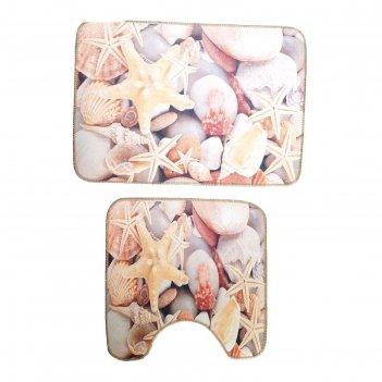 Комплект ковриков «морские звезды», 70 х 50 см, 50 х 50 см, фотопечать