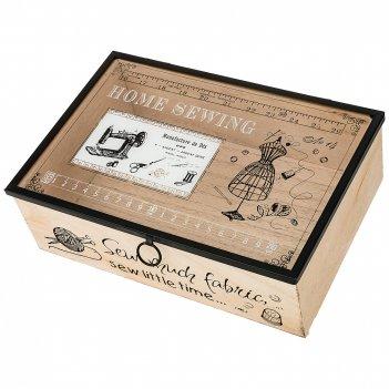 Шкатулка для мелочей коллекция рукодельница 25*17*8 см (мал-6/кор=24 шт) б