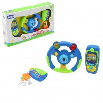 Набор музыкальных игрушек, 3 предмета, со светом, работает от батареек