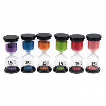 Часы песочные happy time, круглые, 15 минут, микс песка 4*11см