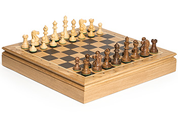 Шахматы стаунтон монарх доска дуб 45х45, фигуры самшит и палисандр 8,3см