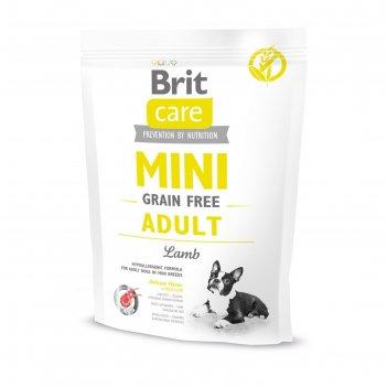 Сухой корм brit care mini gf adult lamb для собак мини-пород, беззерновой,