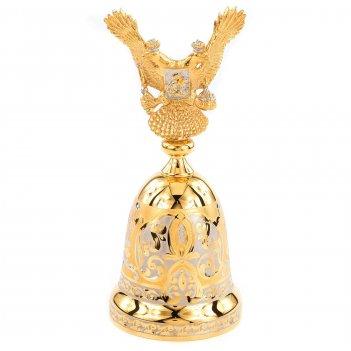 Колокольчик двуглавый орел бронза позолота 60х60х145 мм 750 гр