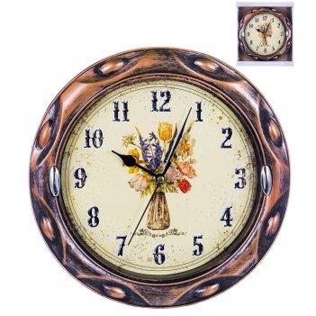 Часы настенные круглые home art «традиция букет» 24,6 см