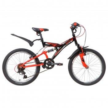 Велосипед 20 novatrack dart, 2020, 6 скоростей, цвет черный