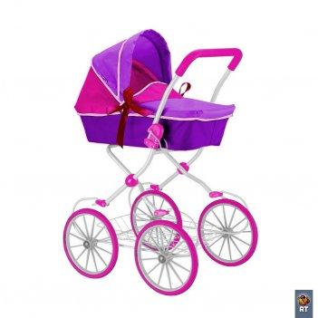 603 кукольная коляска rt цвет фиолетовый+фуксия