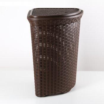 Корзина для белья угловая с крышкой 60л ротанг коричневый