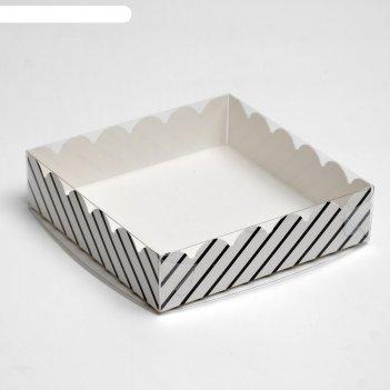 Коробочка для печенья полоски, белая, 12 х 12 х 3 см