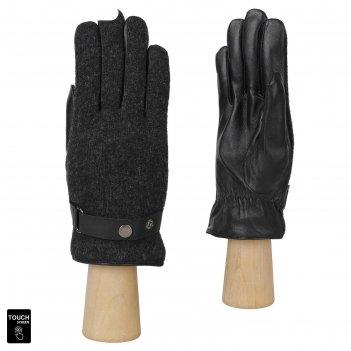 Перчатки мужские, натуральная кожа/шерсть (размер 10.5) черный, touchscree