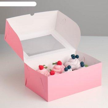 Упаковка на 6 капкейков с окном, розовая, 25 х 17 х 10 см
