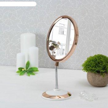 Зеркало на гибкой ножке магия, овальное, с увеличением, цвет медный/белый