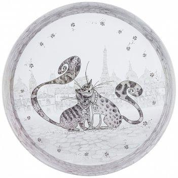 Поднос сервировочный agness котики 33*2,1 см