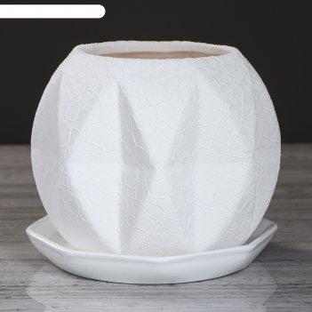 Кашпо сфера 1,5 л шёлк, белый