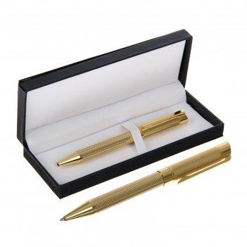 Ручка подарочная шариковая в кожзам футляре поворотная vip корпус золотой