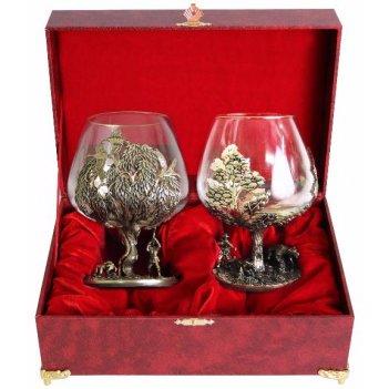 Набор бокалов для коньяка  медведь(сосна)+утки(ива)в шкатулке