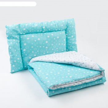 Комплект в кроватку (одеяло, подушка), цвет серый/бирюзовый
