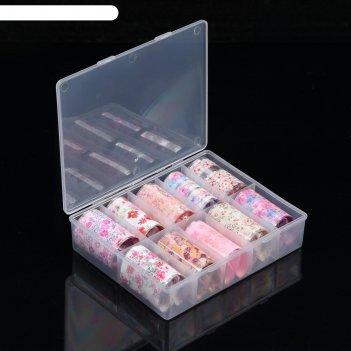 Фольга переводная для ногтей набор 10шт п/коробка 4*40см цветы роз пакет