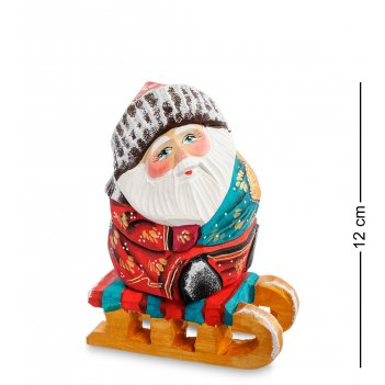 Рд-31 фигурка дед мороз на санках (резной) 14см