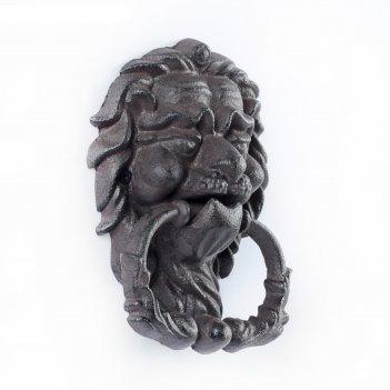 Молоток дверной мудрый лев, цвет черный, 13*18см