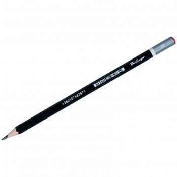 Карандаш чернографитный berlingo mega soft, 3b, заточенный