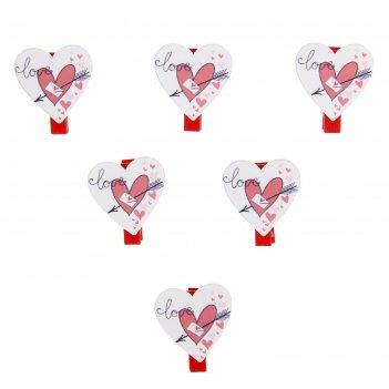 Прищепки декор сердце со стрелой, (набор 6 шт.)