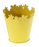 Кашпо оцинкованное цветочный край 12*12 см, желтое
