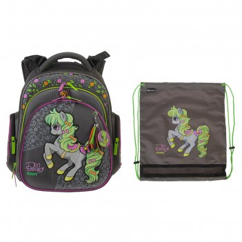 Рюкзак каркасный hummingbird tk 37 х 32 х 18 см, мешок, для девочки, «пони