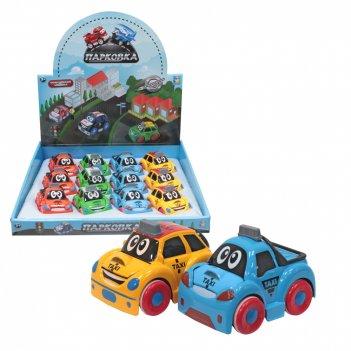 1toy парковка мультяшные автомобили, фрикц,машинка, 8см,металл,корпус, 4в