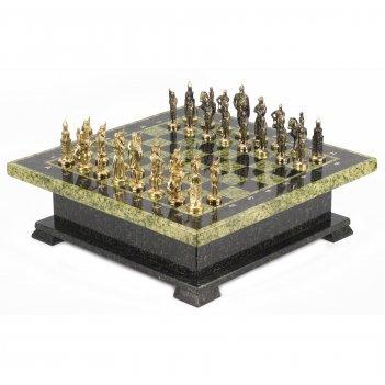 Шахматный ларец фигуры русские змеевик 420х420х130 мм 22 кг