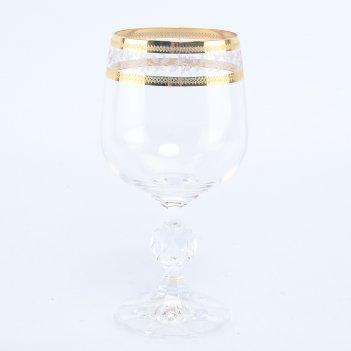 Набор бокалов для вина crystalex bohemia золотой лист v-d 230 мл(6 шт)