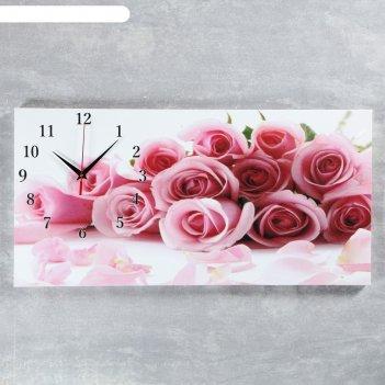 Часы настенные на холсте нежные розы, 40х76 см  микс