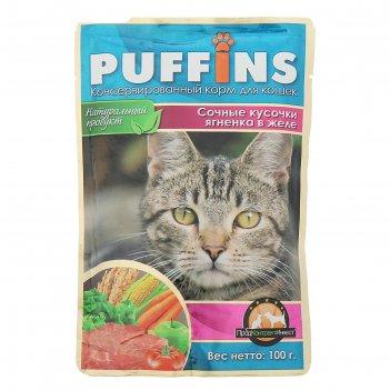 Влажный корм puffins для кошек, сочные кусочки ягненка в желе, 100 гр
