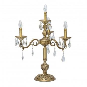 Настольная лампа паула 4x60w e14 латунь 54x54x59см