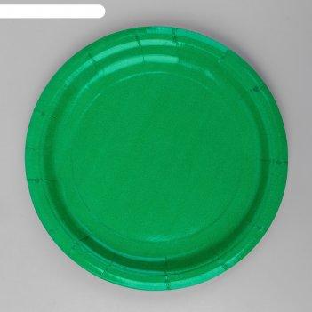 Тарелка бумажная однотонная, цвет зеленый